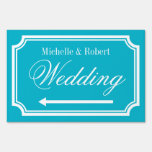 Custom double sided directional wedding yard sign