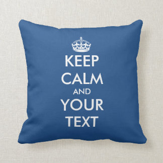 Custom double sided Keep calm throw pillow | blue