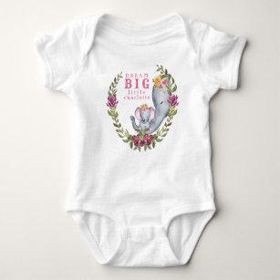5b1a6eb14304 Custom Dream Big Little One Elephant Pink Floral Baby Bodysuit