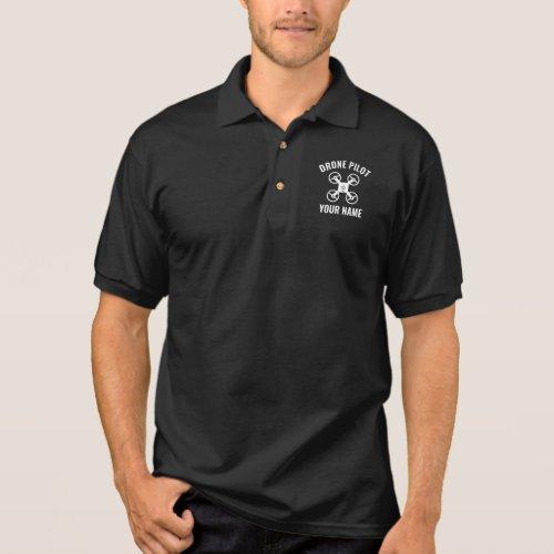 Custom drone pilot polo shirt with quadcopter logo
