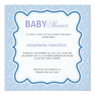 Custom drops baby boy shower card