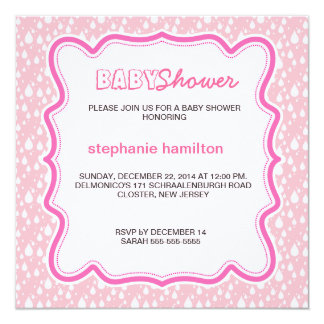 Custom drops baby girl shower card