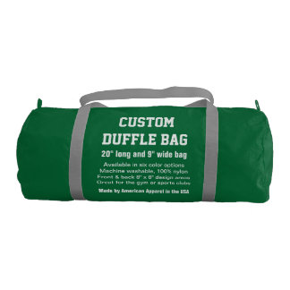 "Custom Duffle Bag GREEN Gym, Sports, Club 20"" x 9"""