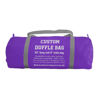 "Custom Duffle Bag PURPLE Gym, Sports Club 20"" x 9"""