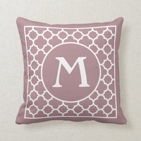 Custom Dusty Rose Mauve Pink Retro Chic Pattern Throw Pillow