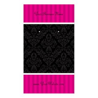 Custom Earring Cards Hot Pink Black Damask Stripes Business Card Templates