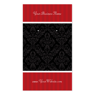 Custom Earring Cards Red Black Damask Stripes Double-Sided Standard Business Cards (Pack Of 100)