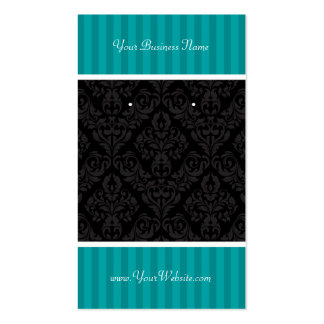 Custom Earring Cards Turquoise Stripe Black Damask Double-Sided Standard Business Cards (Pack Of 100)
