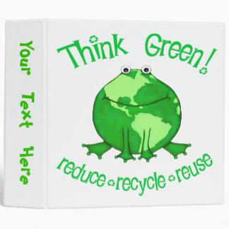 Custom Earth Day / Think Green Earth Frog Binder
