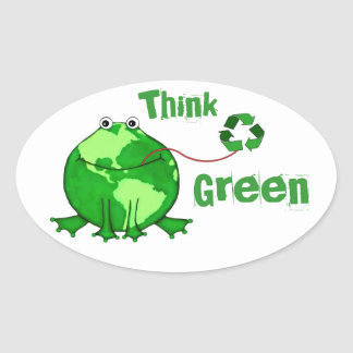 Custom Earth Day / Think Green Frog Stickers