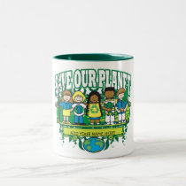 Custom Earth Kids, ADD YOUR NAME! Two-Tone Coffee Mug