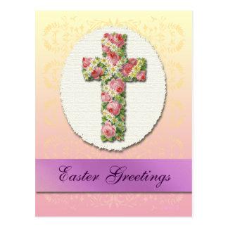 Custom Easter Floral Cross Postcard