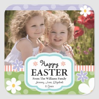 Custom Easter Photo Labels and Tags Daisies and Po sticker