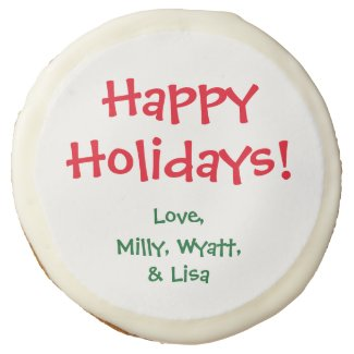 Custom Edible Greeting Sugar Cookies Icing Holiday