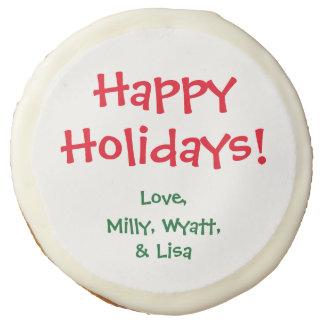 Custom Edible Greeting Sugar Cookies Icing Holiday