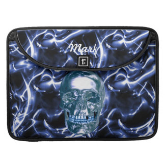 Custom Electric Blue Chrome Skull Macbook Sleeve