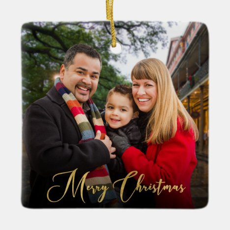 Custom Elegant  2-Sided Family Photo Christmas Ceramic Ornament