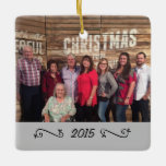 """Custom Elegant 2-Sided Family Photo Christmas Ceramic Ornament<br><div class=""""desc"""">Customize this elegant Christmas ornament with your own family photo and the year placed upon a white banner with elegant swirls. Start a new tradition to create your family&#39;s own personal ornament each Christmas. A wonderful gift to give to parents, grandparents, or to keep for yourself. Also available in other...</div>"""