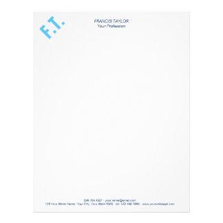 Custom elegant and minimal light blue initials… letterhead