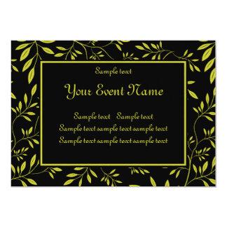 "Custom Elegant Black and Gold Nature Event 5"" X 7"" Invitation Card"