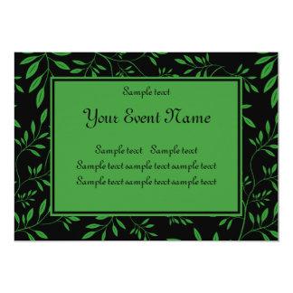 "Custom Elegant Black and Green Nature Event 5"" X 7"" Invitation Card"