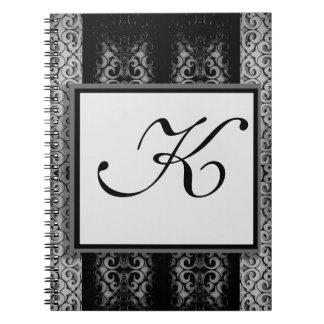 Custom Elegant Black and Silver Monogram Journals