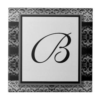 Custom Elegant Black and Silver Monogram Ceramic Tiles