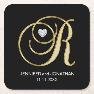 Custom Elegant Black Gold Monogram Letter Wedding Square Paper Coaster
