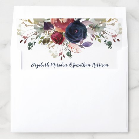 Custom Elegant Burgundy Navy Rose Gold Wedding Envelope Liner
