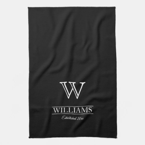 Custom Elegant Classic Monogram Family Name Hand Towel