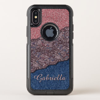 Custom Elegant Cute Stylish Floral Lace Pattern OtterBox Commuter iPhone X Case