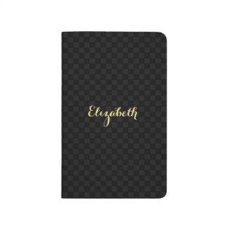 Custom Elegant Faux Gold Name Black Check Pattern Journal