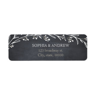 Custom elegant floral chalkboard rustic wedding label