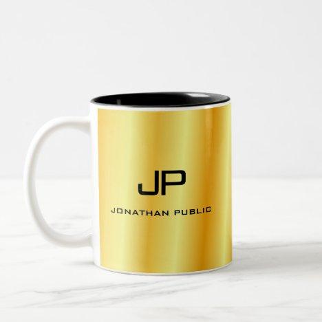 Custom Elegant Gold Look Monogram Template Two-Tone Coffee Mug