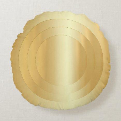 Custom Elegant Gold Look Trendy Template Round Pillow