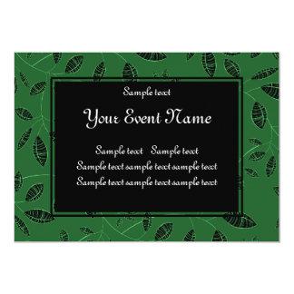 "Custom Elegant Green and Black Nature Event 5"" X 7"" Invitation Card"