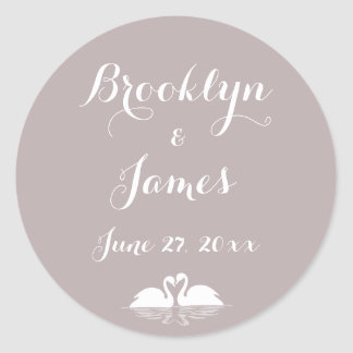 Custom Elegant Grey Wedding Stickers With Swans