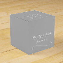 Custom Elegant Grey White Wedding Favor Boxes