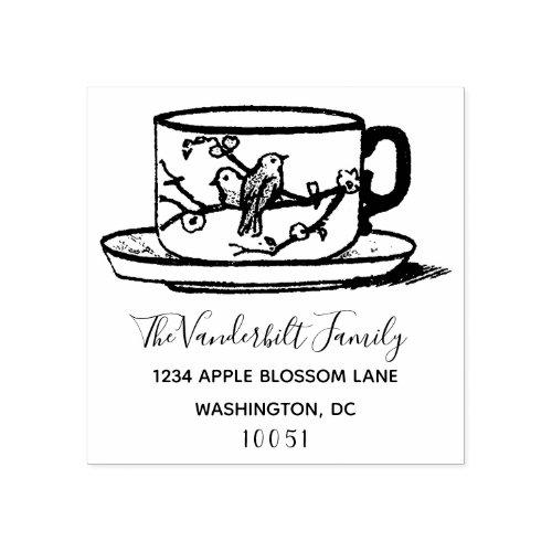 Custom Elegant Logo Teacup Family Return Address Rubber Stamp
