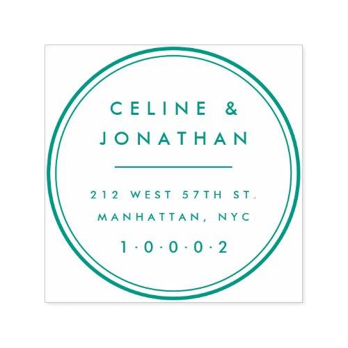 Custom Elegant Modern Couple Wreath Return Address Self_inking Stamp