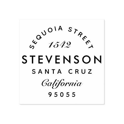 Custom Elegant Modern Family Name Return Address Rubber Stamp