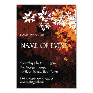 Custom Elegant Orange and White Foilage 5x7 Paper Invitation Card