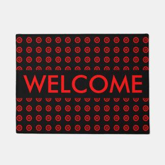 Custom Elegant Red Black circle Pattrn Welcome Doormat