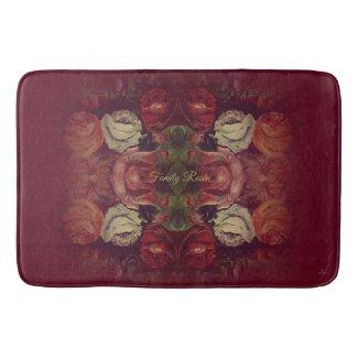 Custom Elegant Red Floral Bath Mat