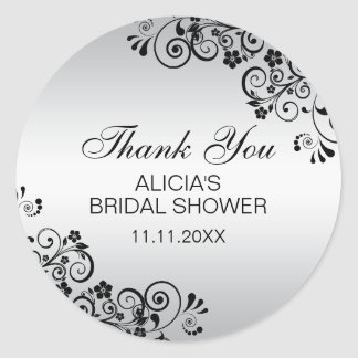 Custom Elegant Silver Bridal Shower Thank You Classic Round Sticker
