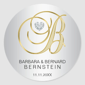 Custom Elegant Silver Gold Monogrammed Wedding Classic Round Sticker