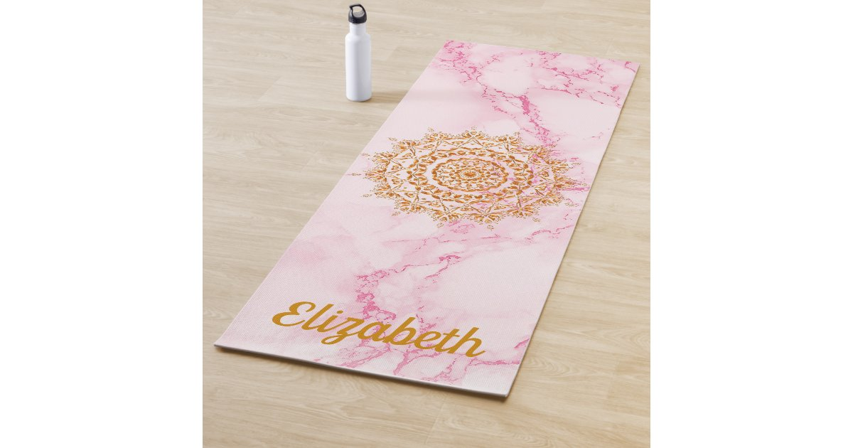 Custom Elegant Soft Pink Marble Stone Gold Mandala Yoga Mat Zazzle Com