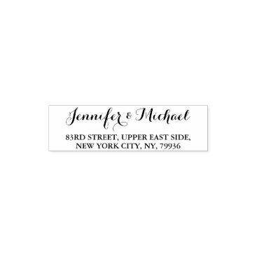 iCoolCreate Custom Elegant Stylish Name Return Address Wedding Self-inking Stamp