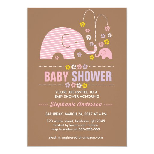custom elephant baby shower invitation zazzle