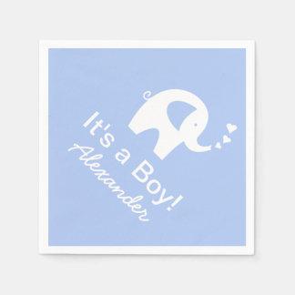 Custom elephant It's a boy baby shower napkins